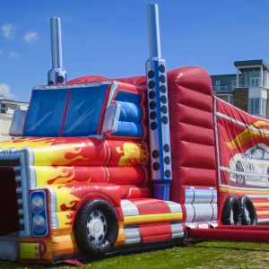 This amazing bouncy castle truck is for hire in Cornwall.